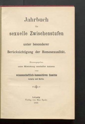 Title page of the first Jahrbuch für sexuelle Zwischenstufen, published by Magnus Hirschfeld in 1899.