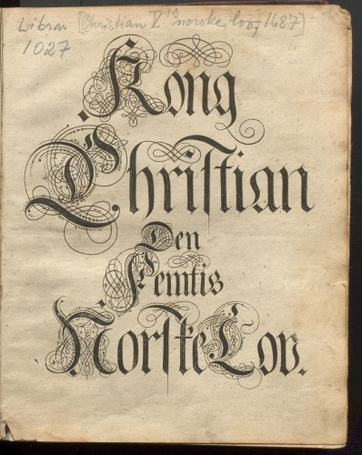 Facsimile of Kong Christian Den Femtis Norske Lov. Image: Special collections, University Library Bergen.