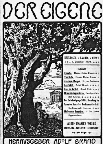 Omslag av et eksemplar av tidsskriftet Der Eigene utgitt av Adolf Brand i Berlin-Neurahnsdorf i juli 1899