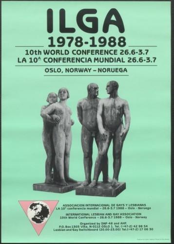 Plakat fra ILGAs 10. verdenskonferanse, som ble avholdt i Oslo i 1988.