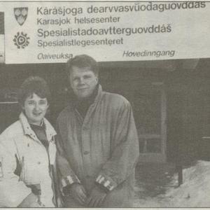Kristin Vassbakk og Torstein Tranøy under informasjonskampanje i Finnmark, 1990