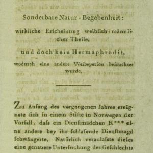 Utsnitt fra tidsskriftet Neues Archiv für die Geburtshülfe, 1799.