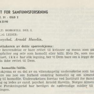 Forsiden av spørreskjemaet som ble sendt ut til homofile og bifile.