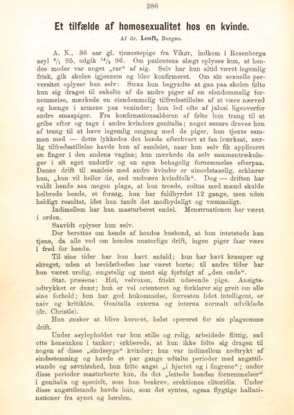 """Artikkelen """"Et tilfælde av homosexualitet hos en kvinde"""" av overlege Carl Looft, s 286."""