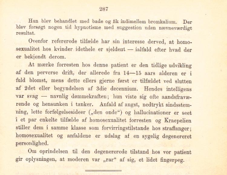 """Artikkelen """"Et tilfælde av homosexualitet hos en kvinde"""" av overlege Carl Looft, s 287."""