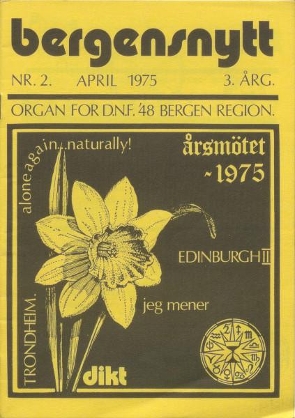 Forside av Bergensnytt nr. 2 april 1975.