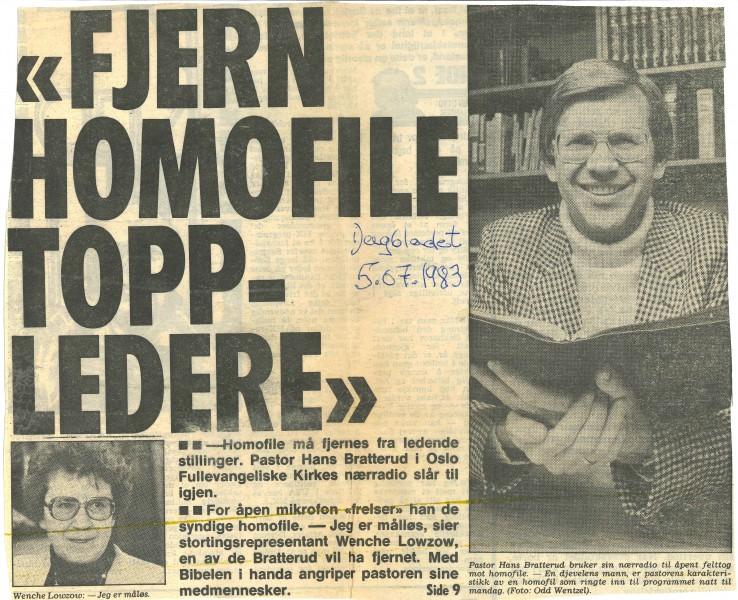 Forside av Dagbladet 10.06.1983. Kilde: Kim Frieles arkiv.