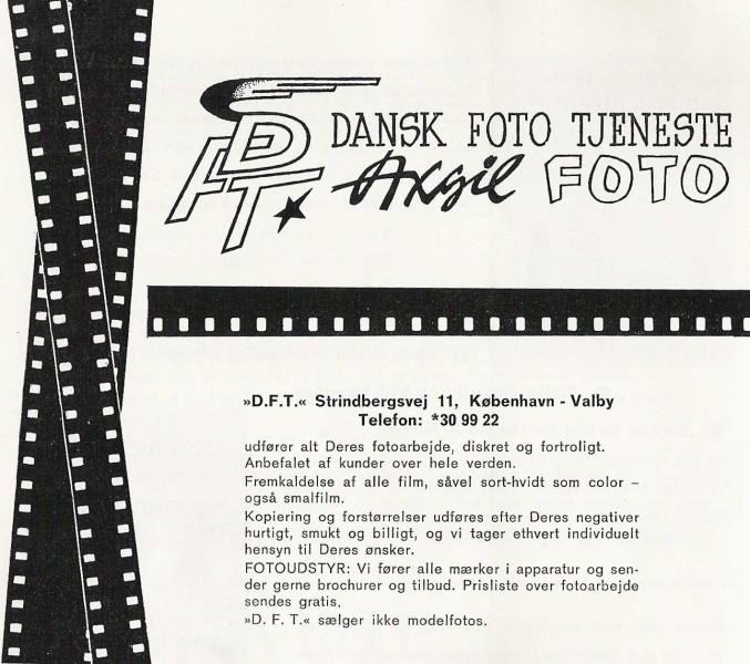 Annonse for DFT, i dette tilfellet tolket som Dansk foto tjeneste av Axgil. Samling Raimund Wolfert, Berlin.
