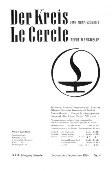 Forside av Der Kreis/Le Cercle. Septemberutgaven i 1954 var fullt ut viet skandinaviske forhold. Faksimile, ETH Zürich, e-periodica