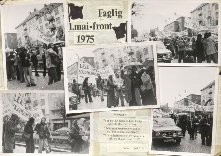 Fra Faglig 1. mai-fronts tog i 1975. Foto: LLH Bergen og Hordalands arkiv, Skeivt arkiv.