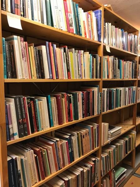 Ida Bloms bibliotek oppstilt i hyllene til Skeivt arkiv.