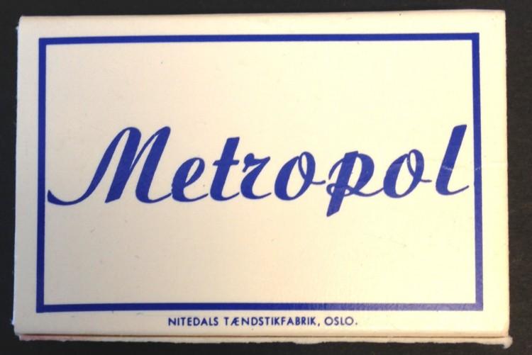 Fyrstikkeske fra det kjente utestedet Metropol.