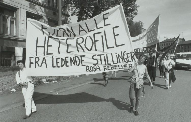 Rosa rebeller under homodagene i Oslo i 1993. Foto: Mimsy Møller, Løvetann-arkivet