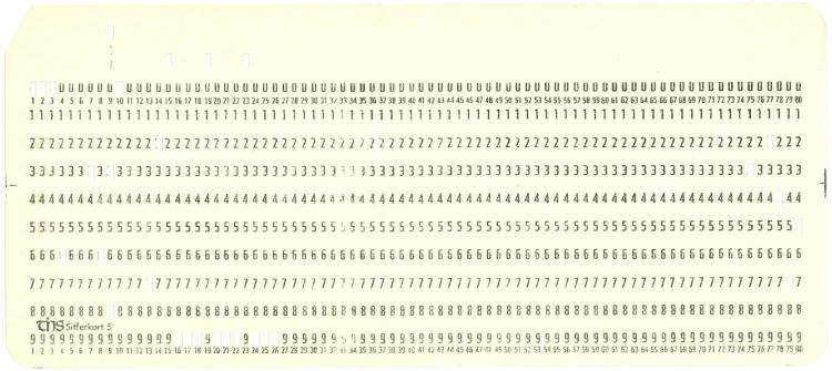 Et eksempel på et hullkort, med svarene fra en respondent hullet ut for å være maskinleselige.