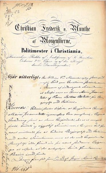 Første side av det første politiavhøret som ble gjennomført i Christianiasaken, 3 november 1853.
