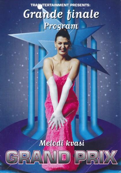 Plakat for finalen av Melodi Kvasi Grand Prix, ledet av Daisy (tidl. Désirée) Hafstad.