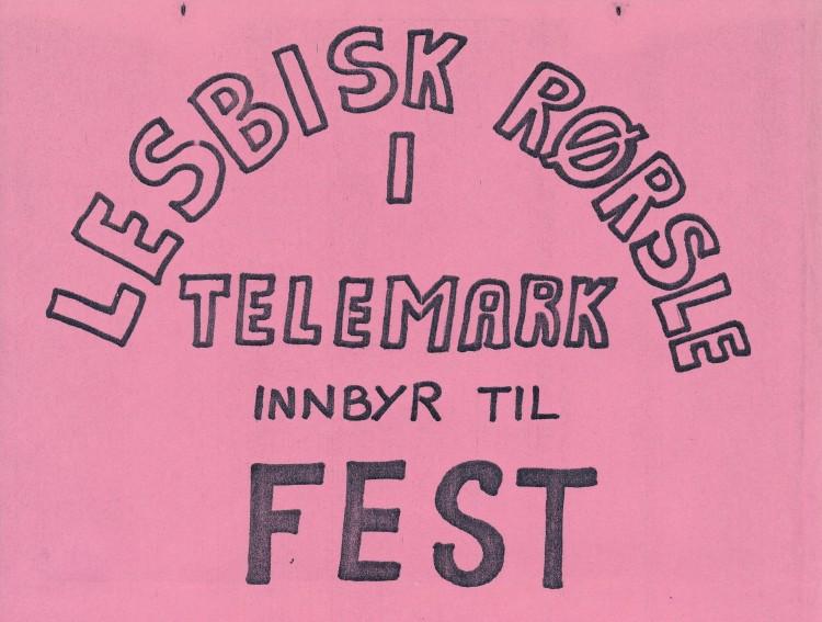 Klipp fra en invitasjon til fest med Lesbisk Rørsle i Telemark, 21. januar 1983.