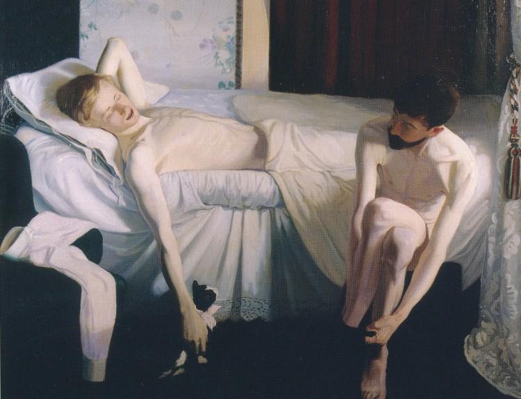Andreas M. Andersen: Måleri frå 1894. Vi ser broren Hendrik liggjande naken og fornøgd etter ei elskovsstund saman med vennen John Briggs Potter, som her sit naken på sengekanten i ferd med å ta på seg sokkane.