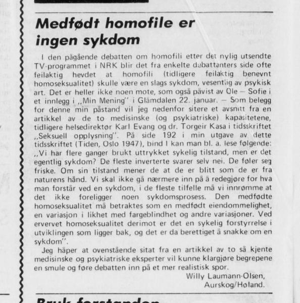 Willy Laumann-Olsen om homofili Glåmdalen