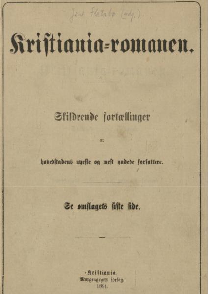 Kristiania-romanen av Jon Flatabø, tittelblad (Nasjonalbiblioteket).