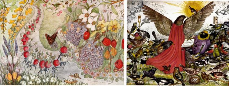 Illustrasjoner av Lagertha Broch. Til venstre Syrinprinsessene, til høyre fra billedboken Naturens eventyr.