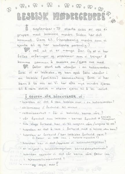 Flygeblad om lesbisk mødregruppe