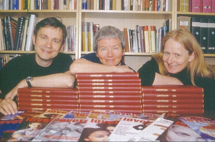 Løvetannredaksjonen. Fra venstre Peter F. Jacobsen, Turid Eikvam og Marit Myking.