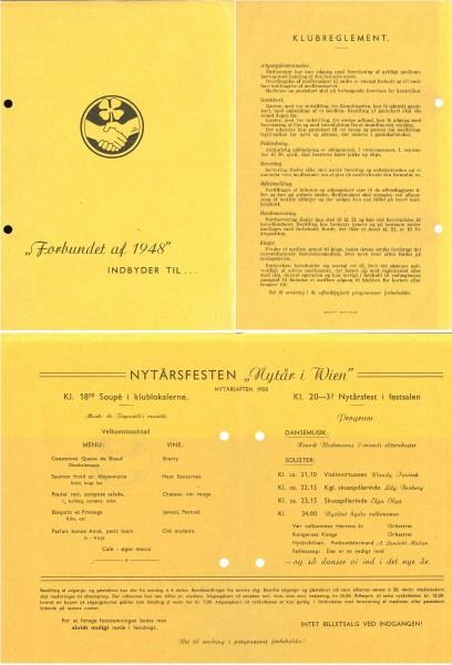 Invitasjon til Forbundet af 1948s nyttårsfeiring for 1950.