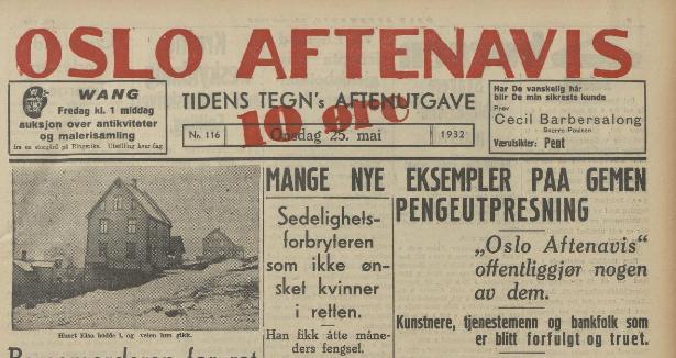 Pengeutpressing av homofile var framsidestoff i 1932