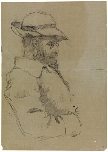 Hans Jæger tegnet av Andreas Bloch i 1910. Bilde: Nasjonalbiblioteket, blds_06330