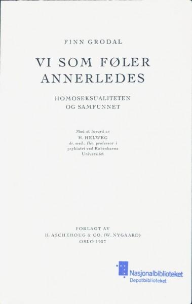 Tittelbladet til Vi som føler annerledes. Foto: Nasjonalbiblioteket.