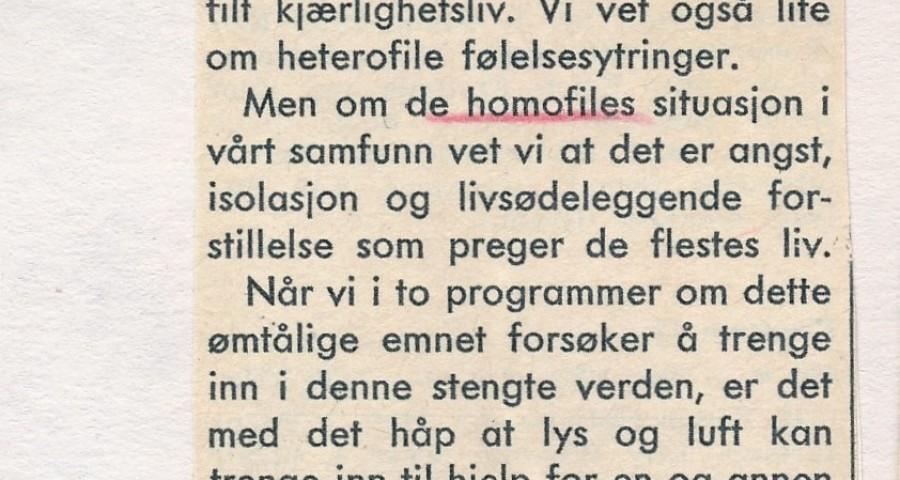 Programbladets forhåndsomtale av Homofili og menneskeverd, skrevet av programleder Liv Haavik.