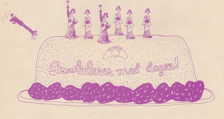 Utsnitt fra en forside av Lavendelexpressen som feirer at Lesbisk Bevegelse hadde eksistert i 5 år.