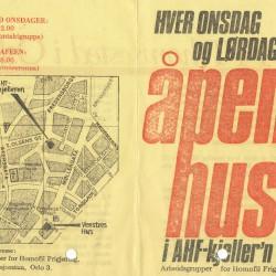 Brosjyre for kafeen i AHF-kjeller'n med kart.