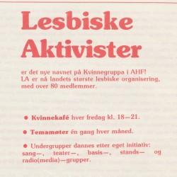 Lesbiske aktivister annonseres, Amasonen, 8/84, s 24