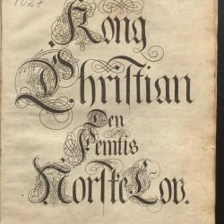 Tittelblad/illustrasjon fra Kong Christian Vs norske lov av 1687. Illustrasjonskilde: Manuskript- og librarsamlingen, Universitetsbiblioteket i Bergen