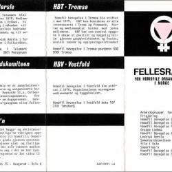 Brosjyre fra Fellesrådet for Homofile Organisasjoner i Norge, designet av Claus Drecker.