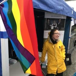 Heidi Rohde Rafto på Skeivt arkivs stand under Regnbuedagene 2017.