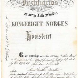 """Første side av Høyesterettssaken fra 1854, """"Christianiasaken"""""""