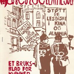 """Forsiden av Lavendelexpressen nr 2, med illustrasjon med parolene """"Støt de lesbiske i Kina og Albania"""" og """"Eneste løsning: Lesbisk økofeminisme"""""""