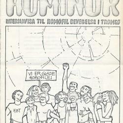 Første nummer av Hominor, tidsskriftet til Homofil Bevegelse i Tromsø, nr. 1-79. Forsiden er tegnet av Axel Gran.