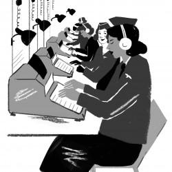 """""""Luftwaffenhelferinnnen på jobb"""". Illustratør: Barbara Ott"""