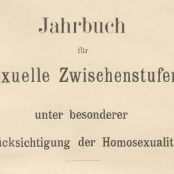 Tittelbladet fra Magnus Hirschfelds Jahrbuch für sexuelle Zwischenstufen, 1899.