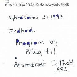 NRHs nyhetsbrev nr 2 1993, med program og bilag til høstens årsmøte.