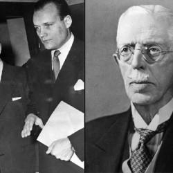 Kurt Haijby skal ha møtt kong Gustav V av Sverige (t.h.) for første gang i 1912. Her er Haijby og hans advokat Henning Sjöström under rettsaken 1952. Foto: Wikimedia Commons.